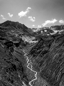 Loowit Creek and The Breach Aerial Black and White - Mount St  Helens-2