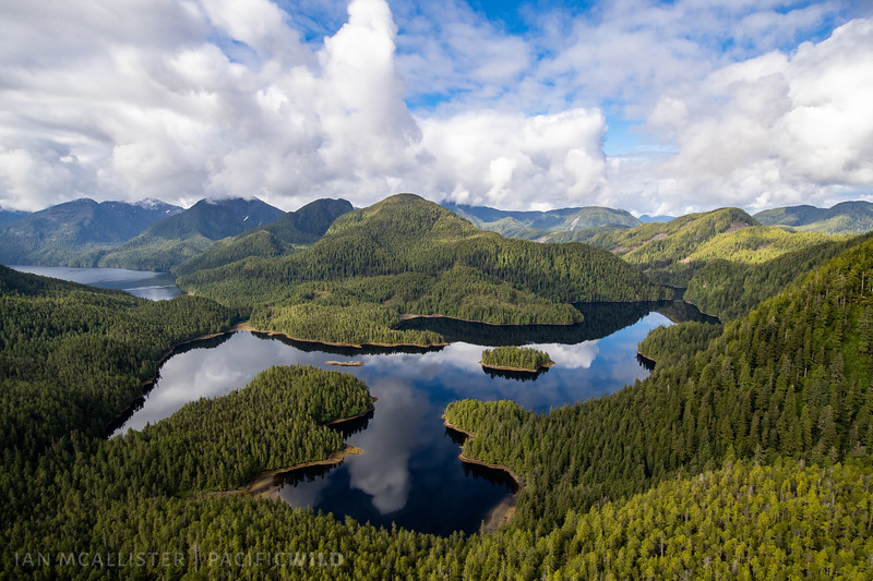 A coastal lake sits behind an inlet amidst mountains of old growth temperate rainforest.
