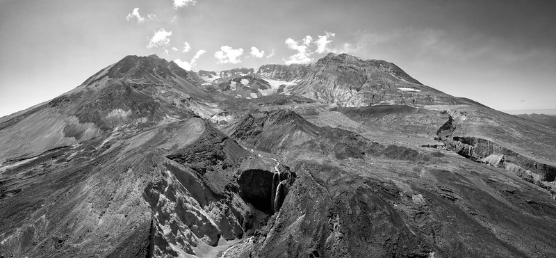 Loowit Falls and The Breach Aerial Panorama Black and White - Mount St  Helens