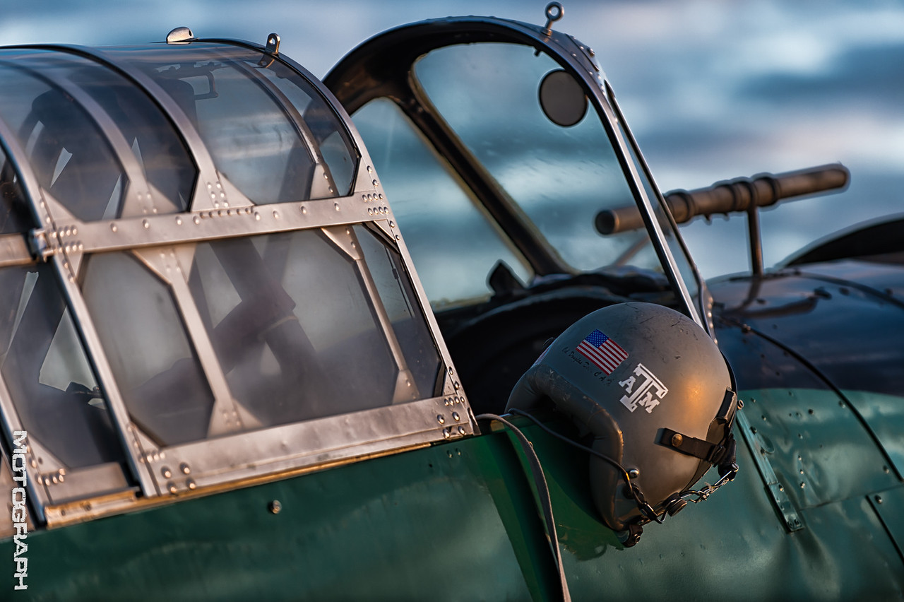 """The early morning sun highlights the cockpit of the Japanese """"Kate"""" torpedo bomber"""