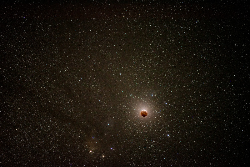 Eclipsed Moon in front of the Center of Our Galaxy - May 26, 2021
