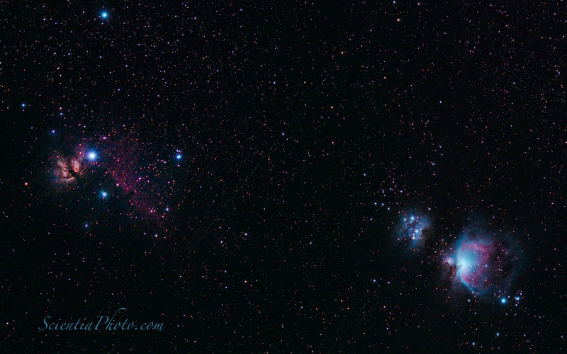 Orion Nebula (Right) and the Flame Nebula (Left)