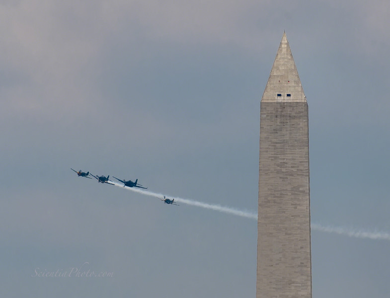 """The """"Missing Man"""" Formation Passes Behind the Washington Monoment"""
