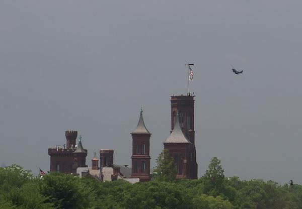 B-26 Flies Over the Smithsonian Castle