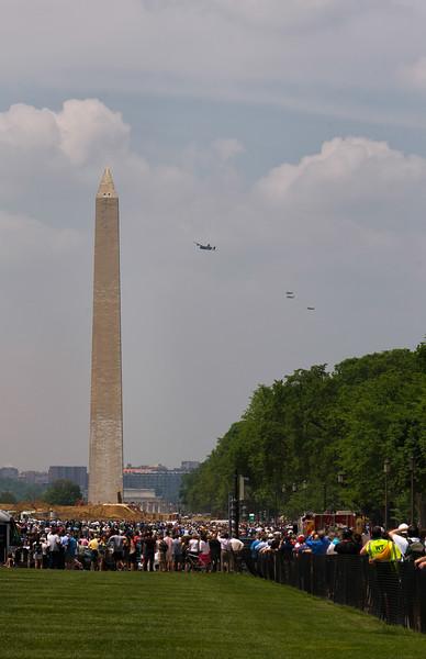B-24 Liberator & 3 P-51 Mustang Escorts Approach the Washington Monument