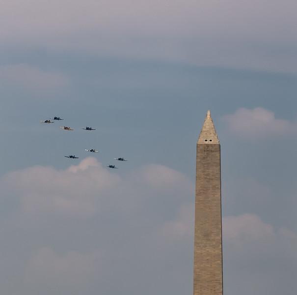 A Flight of AT-6 Texans Pass Behind the Washington Monument