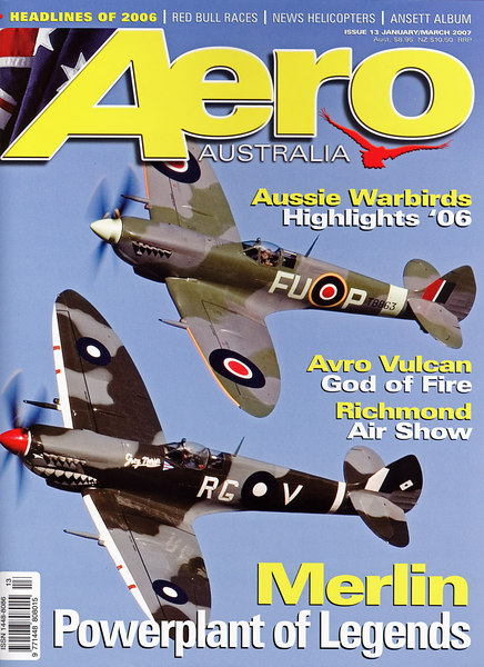 "The front cover of Aero Australia magazine #13 in the newsagents now. Contact  <a href=""http://www.aero-oz.com.au"">http://www.aero-oz.com.au</a> for subscriptions.<br /> <br /> Temora Aviation museum's Spitfire pair on their debut formation flight on 15th September 2006.<br /> <br /> Top Mk XVI, lower MK VIII"