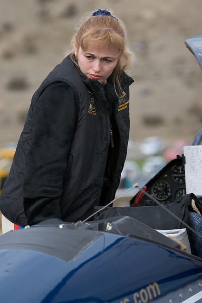 Five times ladies FAI World Aerobatic Champion, Svetlana Kapanina, prepares for a demonstration sortie at Warbirds over Wanaka in New Zealand at Easter 2006.