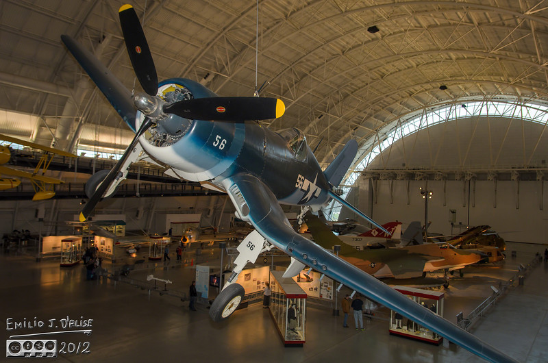 The first thing that greets you as you walk to a balcony looking out to the huge hangar is this Vought F4V Corsair.