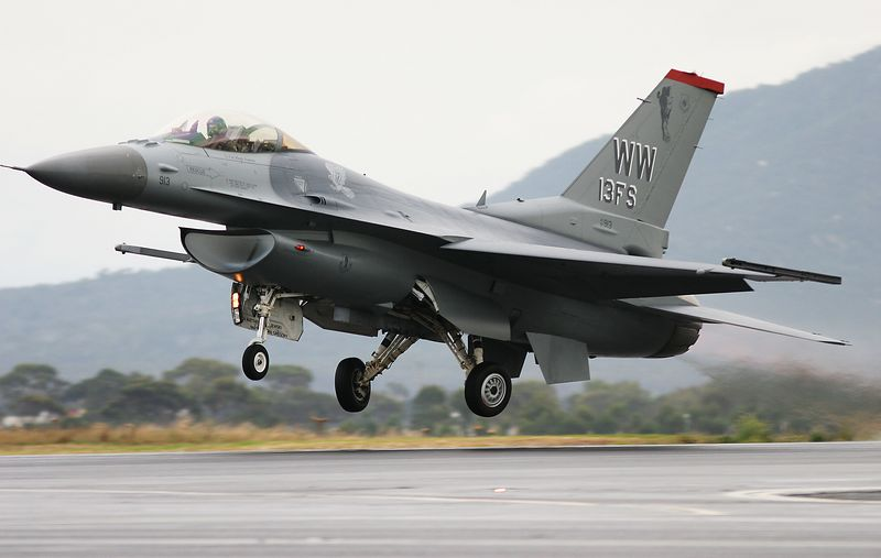 F-16. Barely airborne and the gear is on the way up!