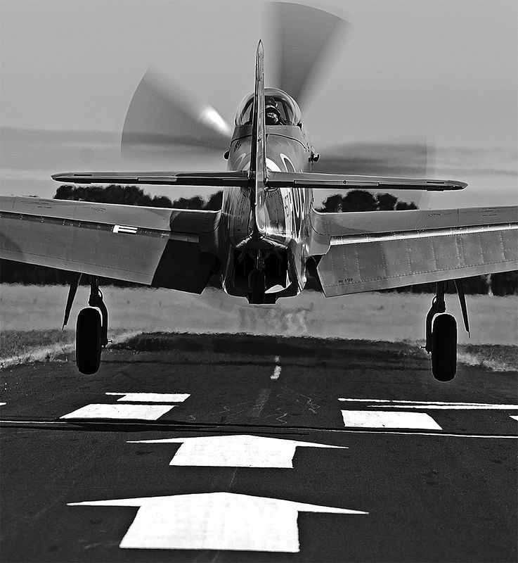 """Mustang VH-JUC just about to touch down. Converted to monochrome from original colour image. Awarded a """"Credit"""" at Pennant Hills Photo Club recently."""