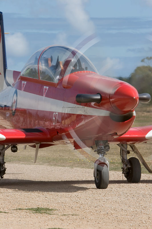RAAF Roulettes display Pilatus PC-9 taxis in on the gravel.