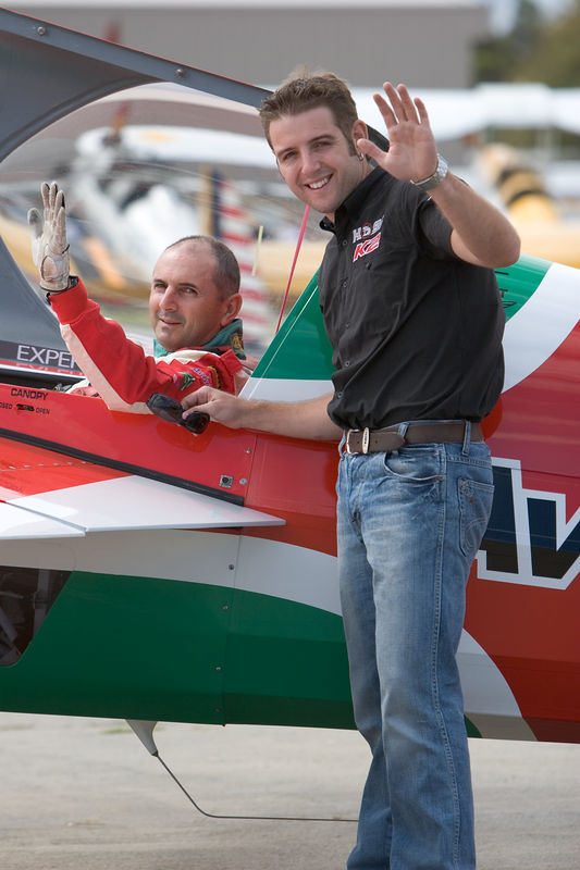 "All smiles before the second challenge, Pip Borrman and Todd Kelly. Two very different disciplines mastered by two very talented people.  <a href=""http://www.edgeaerobatics.com.au/"">http://www.edgeaerobatics.com.au/</a>    <a href=""http://www.toddkelly.com.au"">http://www.toddkelly.com.au</a>   <a href=""http://www.toddkelly.com.au"">http://www.toddkelly.com.au</a>"