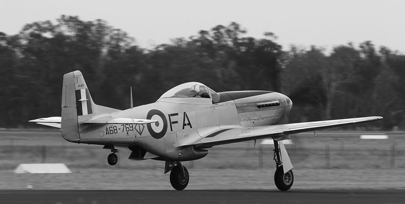 """Mustang rotates. Black and white version. This photo was judged as worthy of a Credit award and scored """"Top Shot"""" in the monochrome chapter at Pennant Hills Photographic Club in June."""