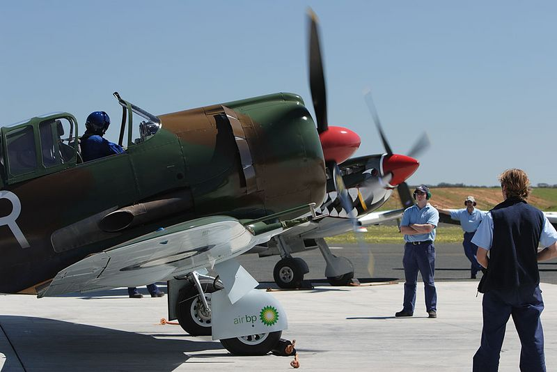 "Matt Denning's Boomerang ""Suzy Q"" starts up watched by Temora Aviation Museum crew. The Spitfire is already running and the pair put on a stirring show with the Hudson."
