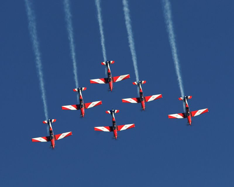 RAAF Roulettes Pilatus PC9s over Lake Burley Griffin on VP Day.