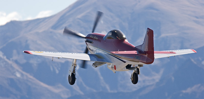 Thunder Mustang powered by a V12 Falcon engibe derived from an automotive V8. The power to weight ratio ensures that this aircraft far out-performs the original North American P-51 Mustang.