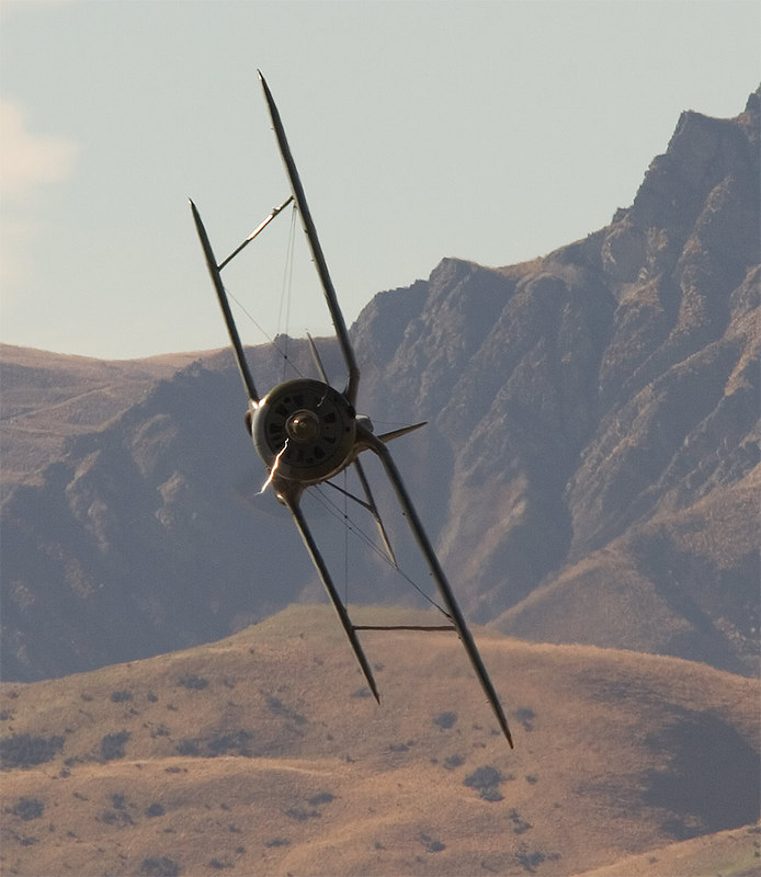 "Polikarpov I-135 banking hard with the Wanaka hills behind. For some intersting background on this aircraft read: <a href=""http://en.wikipedia.org/wiki/Polikarpov_I-153"">http://en.wikipedia.org/wiki/Polikarpov_I-153</a>"