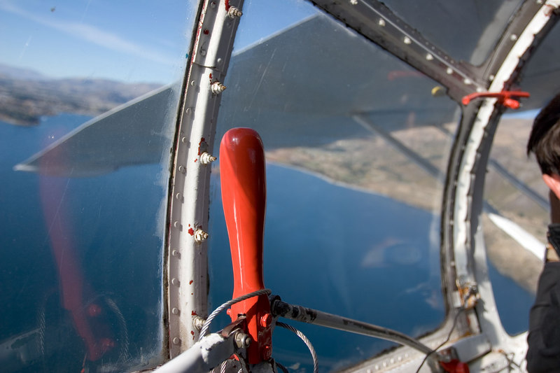 From the port bubble canopy in the Catalina over Lake Wanaka.