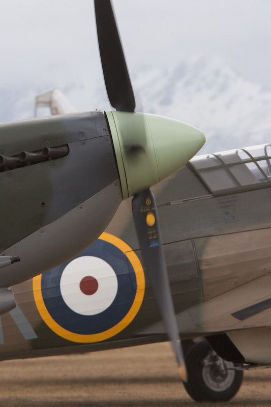 Spitfire and Hurricane about to defend the field.