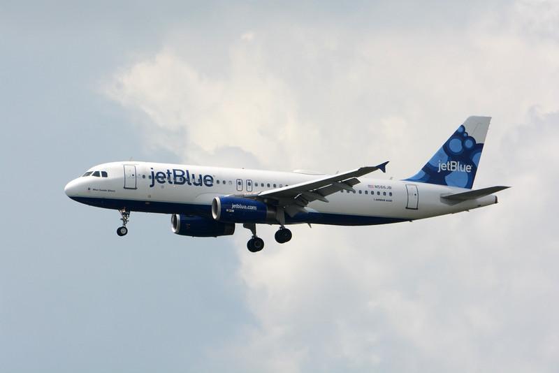 "Date:  4/15/15 - Location:  KMCO<br /> Dep/Arv/Enr:  Arv - RW/Taxi/Ramp:  RW18R<br /> Manufacturer:  Airbus <br /> Model:  A320-232 - Reg/Nmb:  N566JB<br /> Misc:  ""Blue Suede Shoes"""