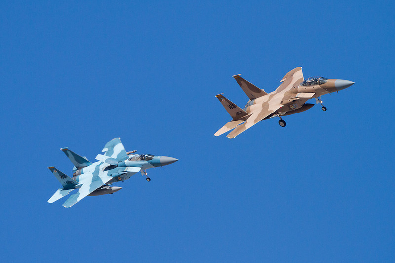 Two F-15's setting up to land at Nellis AFB.