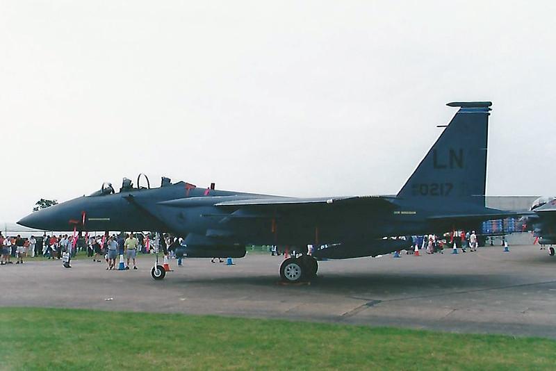 Date:  2001 - Location:  EGXJ<br /> Dep/Arv/Enr:  n/a - RW/Taxi/Ramp:  n/a<br /> Manufacturer:  McDonnell Douglas/Boeing<br /> Model:  F-15E - Name:  Strike Eagle<br /> C/N:  1355/E216 - SerNo:  97-0217<br /> Unit:  492 FS/48 FW<br /> Misc: