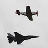 Date:  4/2/16 - Location:  KMLB<br /> Manufacturer:  General Dynamics/North American<br /> Aircraft:  F-16C/P-51D<br /> Mil Reg:  91-0376/44-74391 - Civ Reg:  n/a/N351MX<br /> Misc: