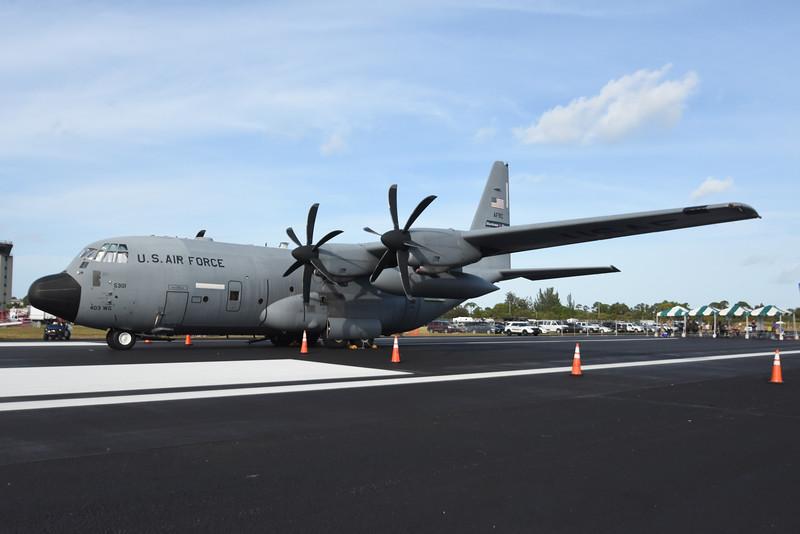 Date:  11/06/16 - Location:  KSUA<br /> Dep/Arv/Enr:  n/a - RW/Taxi/Ramp:  n/a<br /> Manufacturer:  Lockheed Martin<br /> Model:  WC-130J - SerBuNo:  96-5301 - C/N:  382-5452<br /> Unit:  53 WRS/403 Wing<br /> Misc: