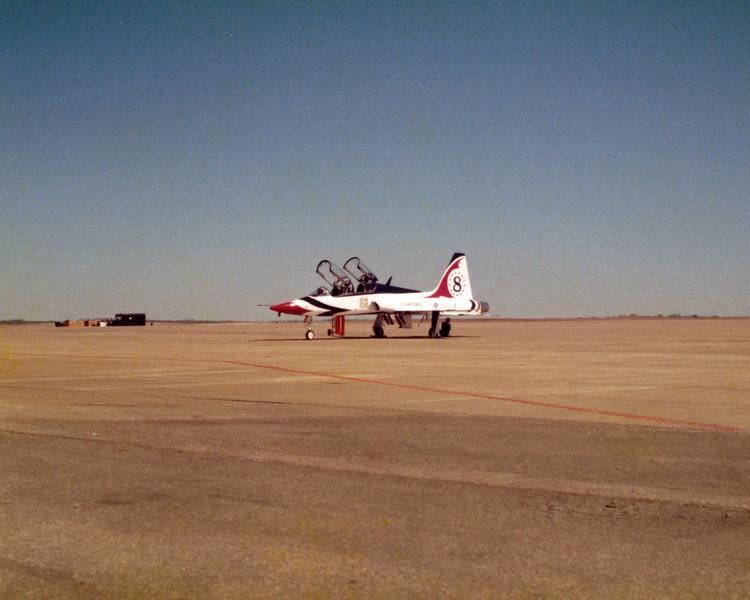 Date: 1980 - Location: KSPS<br /> Dep/Arv/Enr: n/a - RW/Taxi/Ramp: Transient ramp<br /> Manufacturer: Northrop<br /> Model: T38A - Ser/BuNo: unknown<br /> Unit: USAF Aerial Demonstration Team<br /> Misc: