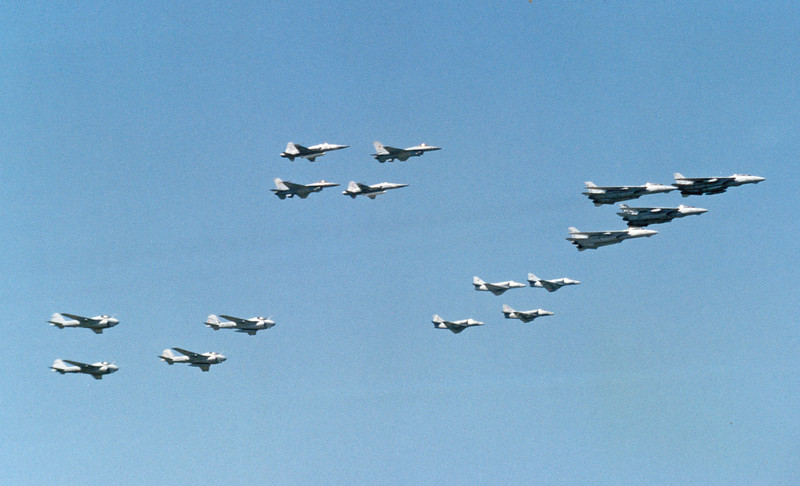 Date:  unknown<br /> Location:  KNTU<br /> A formation consisting of (L to R) A-6Es. F-5Es & F-16Ns, A-4s and F-14s