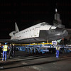 OV-105 Endeavour on Crenshaw Blvd. arrives at the Baldwin Hills Crenshaw Plaza, CA. Oct. 13, 2012