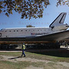 OV-105 Endeavour makes her waythe last 100 yards to the hanger at the California Science Center. Oct. 14, 2012