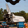 OV-105 Endeavour is parked outside the hanger where it will be on display for the next 5 years at the California Science Center. Oct. 14, 2012