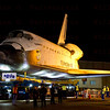 OV-105 Endeavour backs up into parking lot on La Tijera Blvd. at Sepulveda Blvd. Oct. 12, 2012