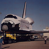 The brand new Space Shuttle Atlantis rolls over to Edwards AFB from Palmdale, CA. April 9, 1985