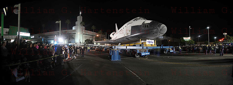 OV-105 Endeavour at the Baldwin Hills Crenshaw Plaza, CA. Prepare to reconfigure transporter Oct. 13, 2012 Panorama