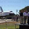 Los Angeles Mayor Antonio Villaraigosa, California Science Center CEO Jeffery Rudolph, Police Chief Charlie Beck, Lynda Oschin and LA City Fire Chief Brian Cummings address media after Endeavour's arrival.