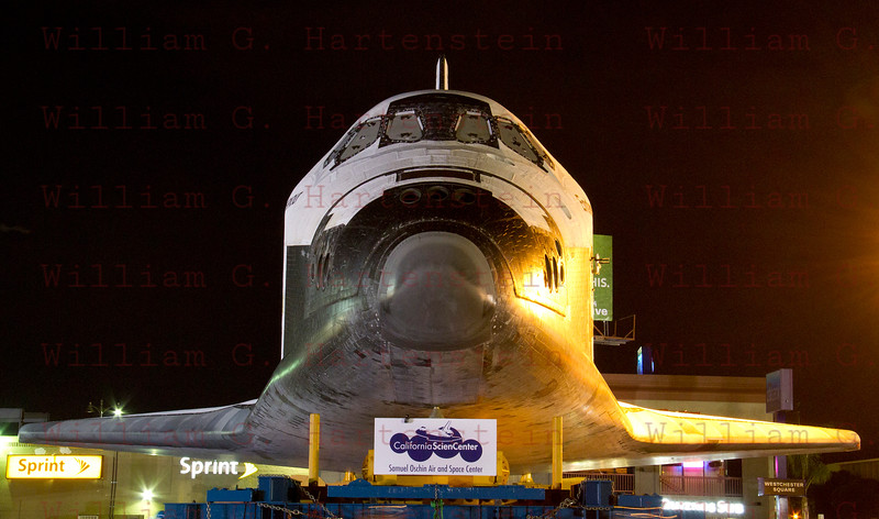 OV-105 Endeavour in parking lot on La Tijera Blvd. at Sepulveda East Way. Oct. 12, 2012