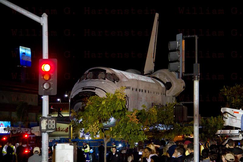 OV-105 Endeavour departs LAX heads up La Tijera Blvd. at Sepulveda Blvd. Oct. 12, 2012