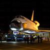 OV-105 Endeavour backs up into parking lot on La Tijera Blvd. at Sepulveda Blvd. Oct. 12, 2012