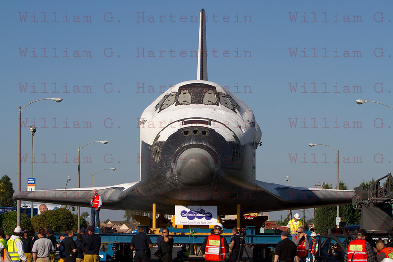 OV-105 Endeavour at Forum stop in Inglewood, CA. Oct. 13, 2012