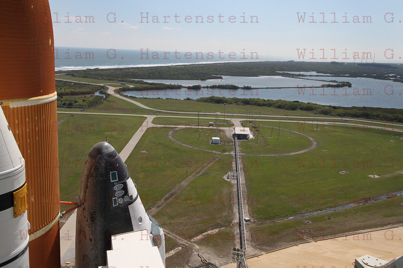 STS-134 Endeavour on Pad 39A after Rollout view of the Dike. March 11, 2011
