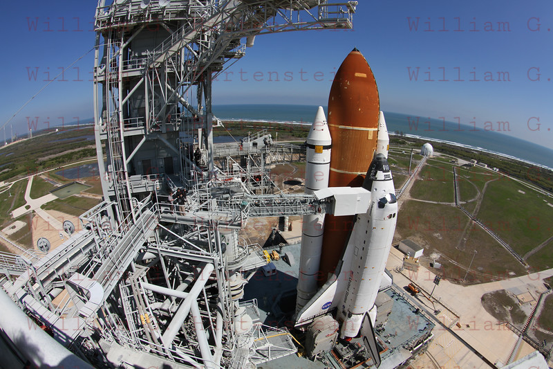 STS-134 Endeavour on Pad 39A after Rollout with Pad 39B in background. March 11, 2011