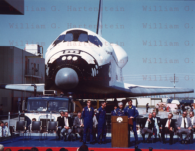 On Oct. 16, 1983 Space Shuttle Discovery was unveiled for the first time at Palmdale CA. Her first flight was STS-41D and there to accept her was the crew of that flight. CDR Henry Hartsfield, Jr., Pilot Michael Coats, Mission Specialists: Richard M. Mullane, Steven Hawley, Judith Resnick, & Charles Walker.