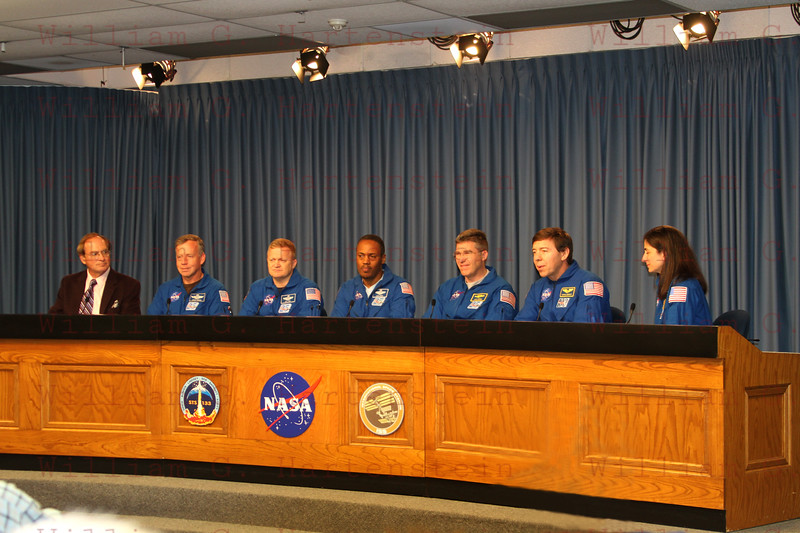 The shuttle Discovery STS-133 Crew holds a Post Landing Press Conference after her Final Flight at KSC.
