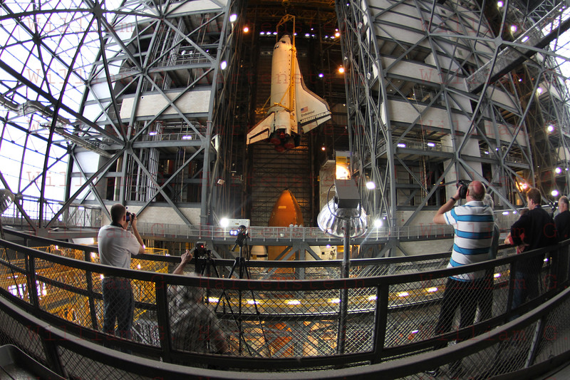 STS-134 Endeavour during lift in VAB from the 16th floor Mar. 1, 2011.