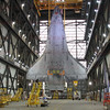 STS-134 Endeavour during lift in VAB  Mar. 1, 2011
