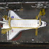 STS-134 Endeavour looking down from the 16th floor, prepares for lift in VAB  Feb. 28, 2011