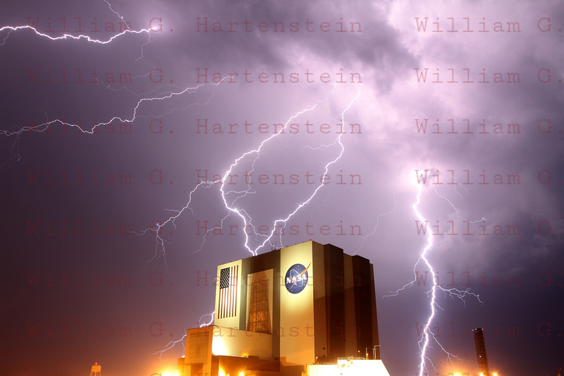 STS-134 Lightning at Press Site April 28, 2011